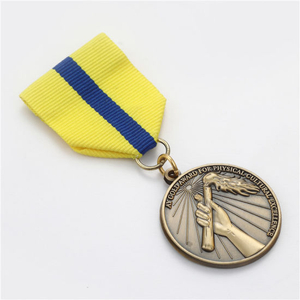 Custom Shape 3D Engraved Antique Brass Metal Sports Medal