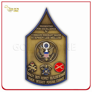 Custom Shield Antique Brass Metal Coin