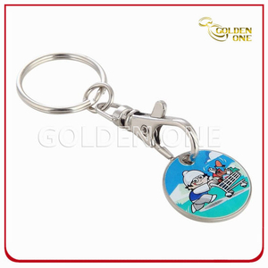 Wholesale Custom Nickel Plated Trolley Coin Keychain