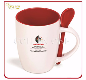 Promotion Heat Tranfer Printed Porcelain Mug with Spoon