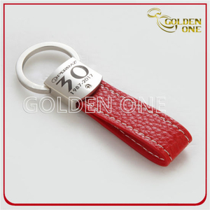 Laser Engraved Logo Pull Apart Metal & Leather Keychain