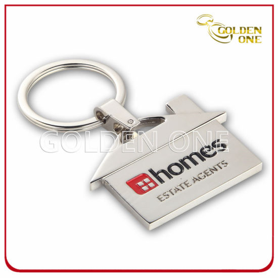 Superior House Shape Metal Key Tag with Enamel