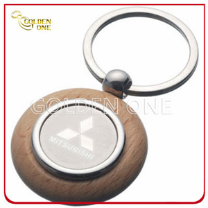 Custom Mitsubishi Motors Logo Wooden Key Ring with Metal