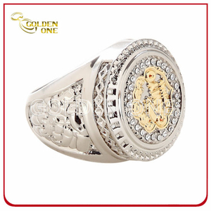 High Quality Two Tone Finish Custom Metal Ring with Rhinestone