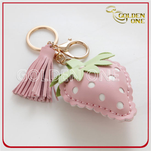 Lovely Strawberry Shape Leather Key Chain