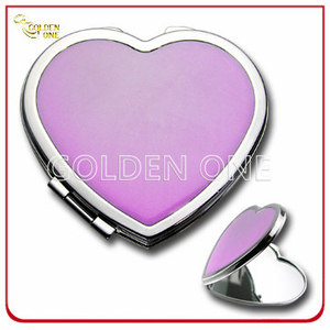 Lady′s Gift Heart Shape Portable Metal Cosmetic Mirror