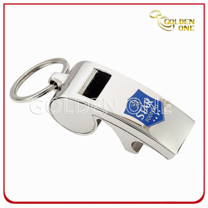 Promotion Gift Nickel Plated Metal Whistle Key Chain