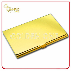Custom Shiny Gold Printed Stainless Steel Card Holder