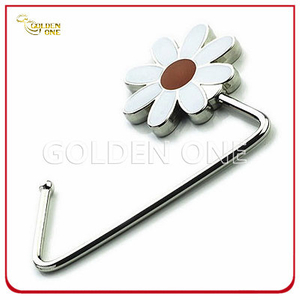 Promotional Gift Flower Shape Nickel Plated Metal Handbag Hanger