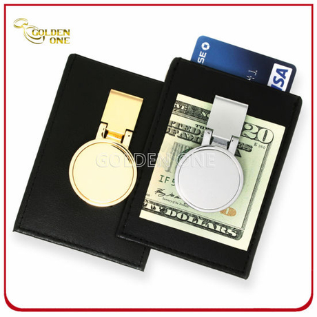 Deluxe Metal Money Clip with Leather Holder for Credit Card