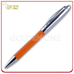 Promotion Gift Click Design Metal Ball Pen with PU Leather