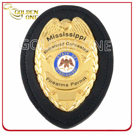 Custom Made Bright Gold Plated Metal Emblem Police Badge