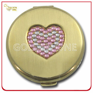 Decoration Crystal Stone Embossed Gold Plated Metal Mirror