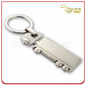 Custom Truck Shape Matte Nickel Plated Metal Keychain