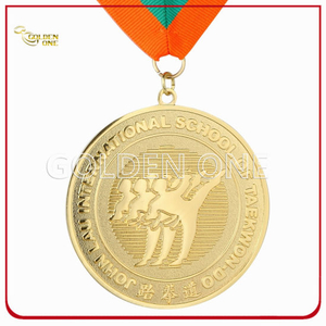 High Quality Gold Plated Metal Sport Medallion with Printed Lanyard