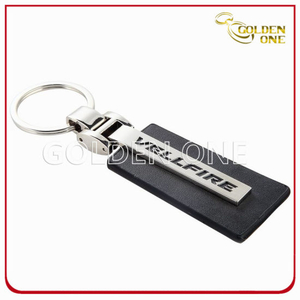 Hot Sale Customised Printed Black PU Leather Key Chain