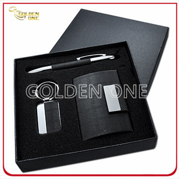 Luxurious Leather Card Case & Key Ring Gift Set