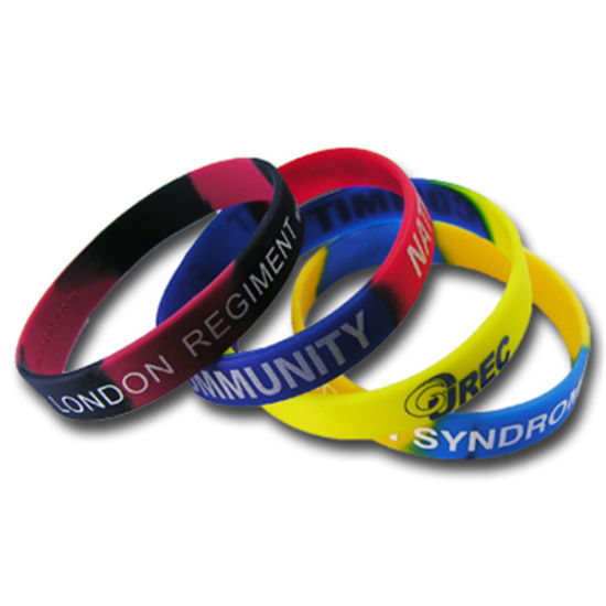 Most Popular Custom Pure Color Screen Print Silicone Wrist Band