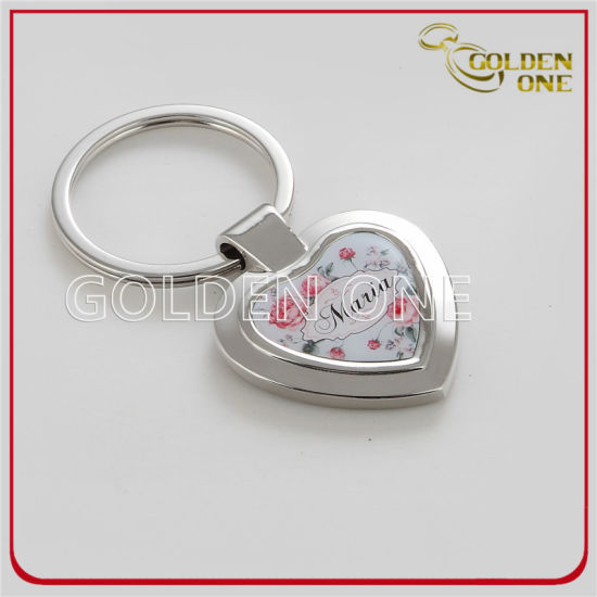 Promotion Gift Custom Heart Shape Printed Metal Keychain