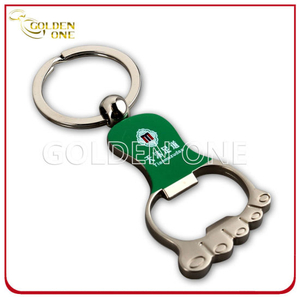Printed Nickel Plated Foot Shape Metal Bottle Opener Key Ring
