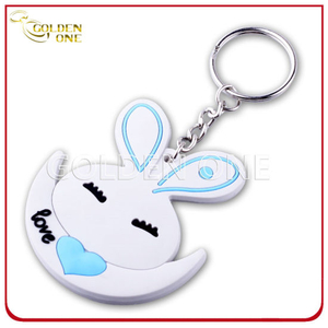 Fancy Style Embossed Printing Soft PVC Keychain with Mirror at Back