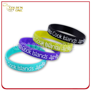 Fashion Style Embossed Printed Convex Design Silicone Bracelet