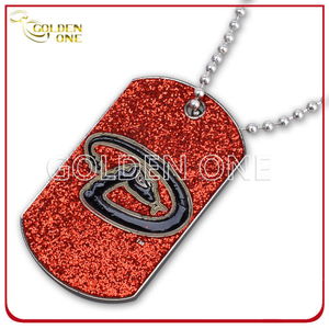 Stylish Silver Plated Zinc Alloy Dog Tag with Glitter Finish