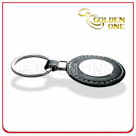 Good Quality Promotional Use Round Shape Leather Key Tag