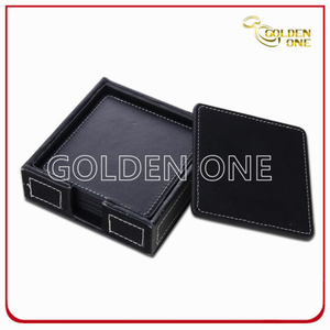 Factory Supply Square PU Leather Coaster with Stitching