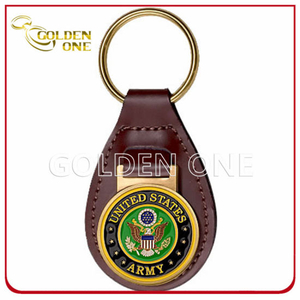 Custom Metal Military Emblem Leather Key FOB